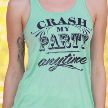 Crash My Party Anytime | Flowy Women's Mint Racerback Tank Top