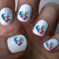 Frozen elsa and anna heart Nail Art Decals Nail Stickers
