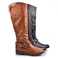 Jagger14 By Bamboo, Round Toe Western Ankle Buckle Knee High Low Heel Riding Boots