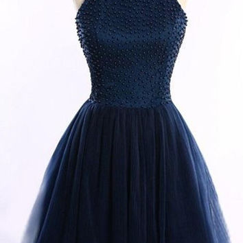 Navy Blue Short Halter Beading Homecoming Dresses