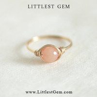 Peach Ring - wire wrapped jewelry handmade - unique rings - custom