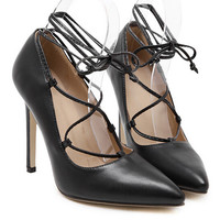 Black PU Lace Up Pointed High Heels