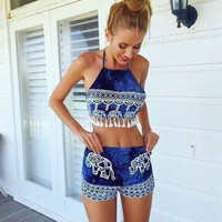 2015 Summer Rompers Womens tassels Jumpsuit Floral Elephant Print Overalls Playsuit Women Two Piece Set Combi short