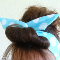 Dolly Bow Reversible Wire Headband Lite Blue with LargePolka Dots Rockabilly Pin Up Hair Accessory for  Teens Women Girls
