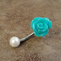 Turquoise Rose Flower Belly Button Ring White Pearl