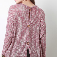 Marl Knit Back Button Top
