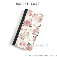 Vintage Rose Leather samsung galaxy note 3 wallet Case , flip samsung galaxy S4 case , samsung galaxy S3 folio case , cover