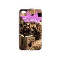 Funny Sloth Reading Book iPhone Case iPhone 4 Case iPhone 5 Case iPhone 4s Case iPhone 5s Case iPod 4 Case iPod 4s Case Pretty Princess Case
