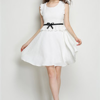 White Sleeveless Ruffled Belted A-line Mini Skater Dress