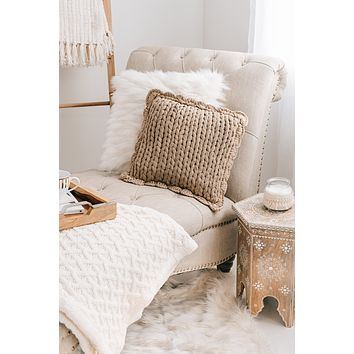 Chunky Knit Pillow (Taupe)