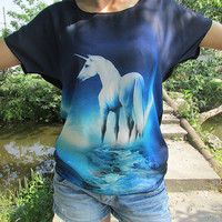 Unicorn 3d printing batwing top for women or girls