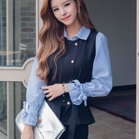 Korean Style Blouse Long Sleeve Striped Polo Collar Shirt
