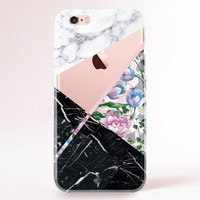Crystal Clear iPhone 6 Case, iPhone 6s Case, iPhone 6 Plus Case, iPhone 6s plus Case, iPhone 5S Case, Galaxy S6 Case - Clear Marble Flowers