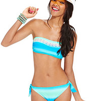 Hula Honey Swimsuit, Ombre Embroidered Bandeau Top & Ombre Bikini Bottom - Swimwear - Women - Macy's