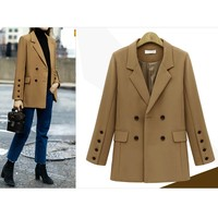 2017 Elegant New Fashion Womens Vintage Solid Long Sleeve Notched Cardigan Coat Formal Wear Tops Blouse#20
