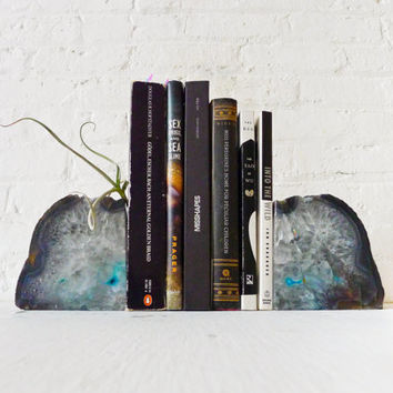 Planetary Storm Magic BookGardEndz - Crystal Bookends Air Plant Garden - Agate Geodes - Set of Two - Unique Home Decor Planter