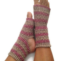 Yoga Socks Hand Knit in Chili Pink and Green StripesPedicure Pilates Dance