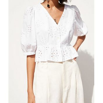 New fashion summer women's shirt T-shirt V-neck embroidered five-point sleeve top