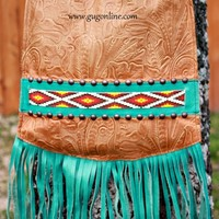 KurtMen Designs Cross Body Tan Tooled, Ivory and Turquoise Beaded Design and Silver Studs, Turquoise Fringe and Tan Tooled Back Purse
