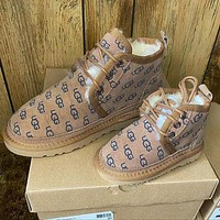 UGG new product trend full printed brown strap snow boots Shoes