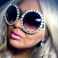 Rhinestone bling circle oversize luxury sunglasses