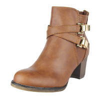 Womens Ankle Boots Strappy Buckle Accent Casual High Heel Shoes Tan SZ