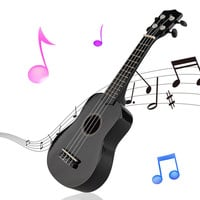 "21"" Mini Professional Black Vintage Acoustic Soprano Guitar Ukulele Musical Instrument For School Music Learner"