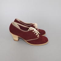 Vintage Abhadabbas 1970's Burgundy Suede Leather Wooden Heel Lace Up Oxford Spectator Shoes Annie Hall Mules Swing Shoes Boho Preppy Pumps