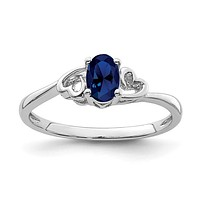 Sterling Silver Created Blue Sapphire Double Heart September Ring