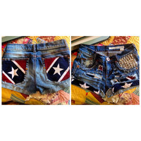 Rebel Flag Cutoff Denim Shorts. Stars Stripes Camo Southern Hunting Mudding Music Festival