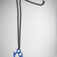 Blue Brass Knuckle Necklace