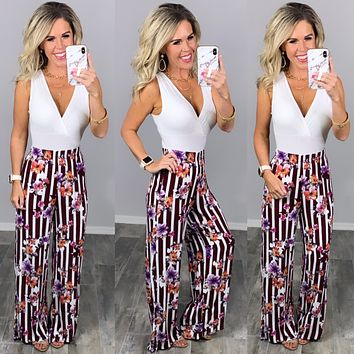 Striped with Floral Pants - Burgundy