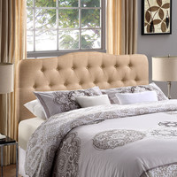 Upholstered Button Tufted, Arched Padded Textured Fabric, and Vinyl Headboards