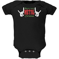 Christmas Heavy Metal Horns Black Soft Baby One Piece