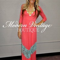 3/4 Sleeve Coral and Blue Lace Maxi Dress