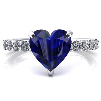 Mylene Heart Blue Sapphire 3 Prong Sculptural Half Eternity Diamond Engagement Ring