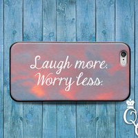 iPhone 4 4s 5 5s 5c 6 6s plus + iPod Touch 4th 5th 6th Generation Cute Funny Cool Pink Ombre Phone Quote Cover Laugh More Worry Less Case +