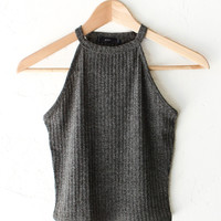 High-Neck Crop Top - Olive