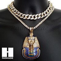 New Hip Hop King Tut Pharaoh Miami Cuban Choker Tennis Chain Necklace F