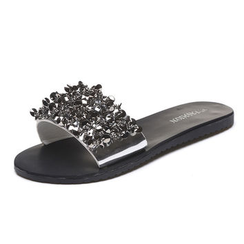 Women Sandals Flips Flops 2017 Summer Style Shoes Woman Wedges Sandals Fashion Rivet Crystal Platform Female Slides Ladies Shoes