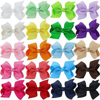 """QingHan Baby Girls 3"""" Grosgrain Ribbon Boutique Hair Bows Alligator Clips Pack Of 20"""