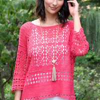 High Expectations Open Knit Top - French Fuschia