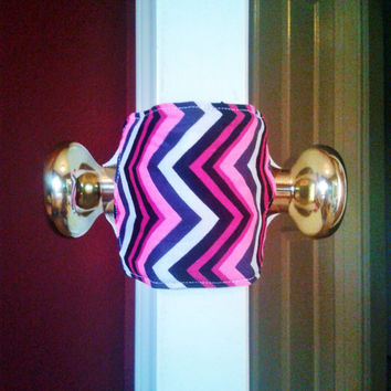 Chevron print Door silencer, padded door stopper, home decor, quiet door,nursery decor, door latch cover, Terra tots, stocking stuffer