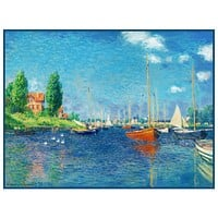 Red Boats at Argenteuil inspired by Claude Monet's impressionist painting Counted Cross Stitch Pattern