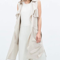 Sleeveless Collar Ruffled Pocket Long-Coat With Belt