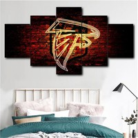 Wall art poster modular canvas HD print painting 5 pieces Atlanta Falcons sport logo painting picture home decor living room