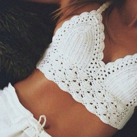 Cut Out Bralette Strappy Crochet Tank Top White + Black