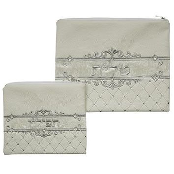 White Faux Leather Tallit And Tefillin Set Laid With Stones- 30x37 Cm