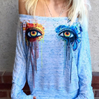 Tie Dye Eye stamp Strapless long sleeve Pullover Tops