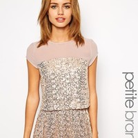 Little Mistress Petite Sequin Top With Mesh Inserts